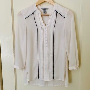 H&M White Button-Up w/ 3/4 Sleeves & Fringe Detail
